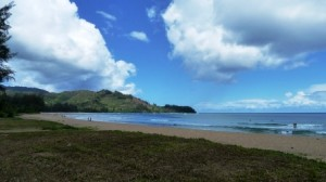 Hanalei Beach with Mountains in Background