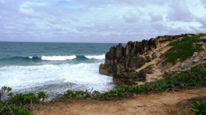 Scenery from a Hike Around Nearby Maha'ulepu Beach - Waves Crashing on a Rocky Beach